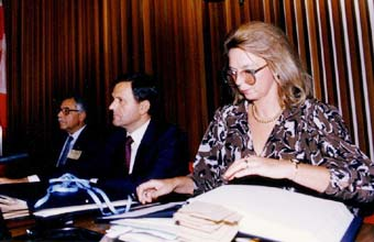 (Left to right) Dr. Mustafa Tolba (Executive Director UNEP); Winfred Lang (Conference Chairman); Iwona Rummel-Bulska (UNEP Secretariat)