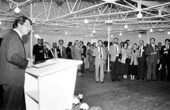(From left) Jean Doré, Mayor of Montreal giving a speech at his reception for delegates to the diplomatic conference.