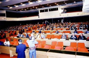 Main Assembly Hall at ICAO where plenary sessions were held for the Montreal Protocol Sept. 14-16, 1987