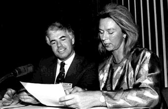 Day of the Signature of Montreal Protocol, Montreal, Canada, 1987. Dr. Iwona Rummel-Bulska, Executive Secretary of the Negotiations on Substances that Deplete the Ozone Layer Protocol, Mr. McMillan, Minister for Environment of Canada